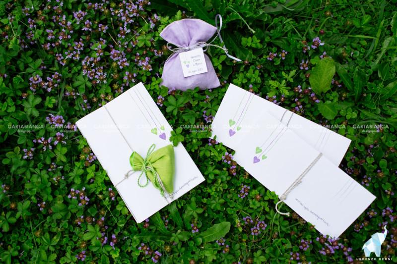 partecipazione e sacchettino collezione lilla e verde