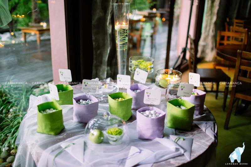 allestimento confettata collezione lilla e verde
