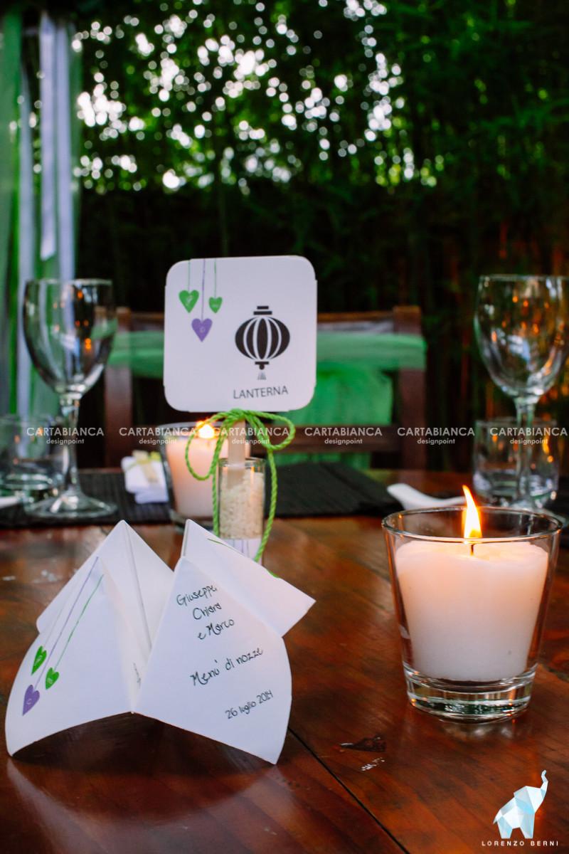 menù origami e segnaposto fiala di riso collezione lilla e verde