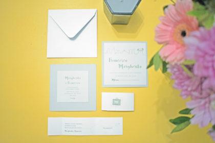 partecipazione, invito e lista nozze sposi Margherita e Francesco