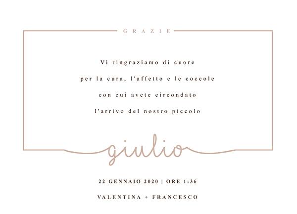 Ringraziamento nascita Giulio