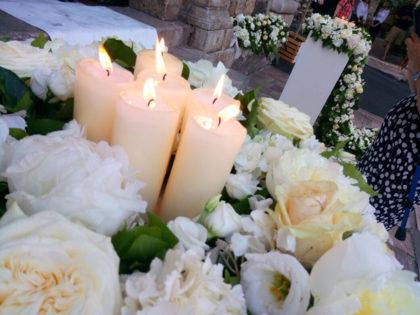 allestimento fiori e candele matrimonio Viviana e Luca