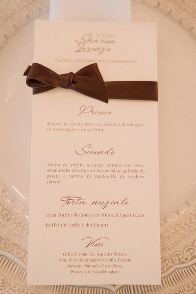 Menù da tovagliolo, matrimonio Sharon e Lorenzo
