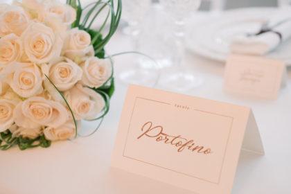 Segnatavolo Portofino, matrimonio Sharon e Lorenzo